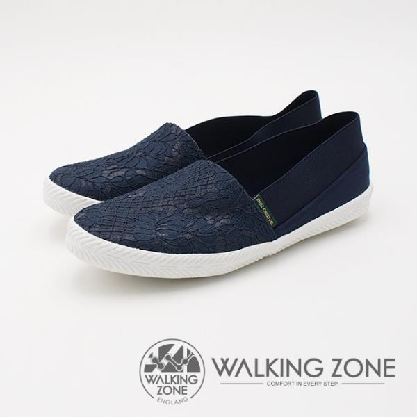 WALKING ZONE 優雅蕾絲懶人帆布鞋 深藍