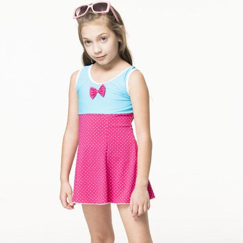 【SARBIS】泡湯 SPA女童連身裙泳裝附泳帽B88807