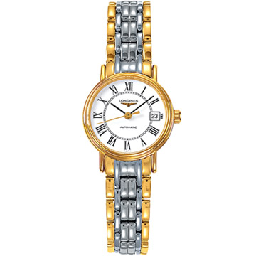 LONGINES 浪琴 Presence 經典羅馬機械女錶 白x半金版 25.5mm L43212117