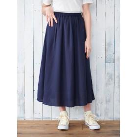 【6,000円(税込)以上のお買物で全国送料無料。】麻調ギャザーロングスカート