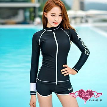 天使霓裳  水母衣 沉穩帥氣 長袖兩件式水母衣(黑M~XL)
