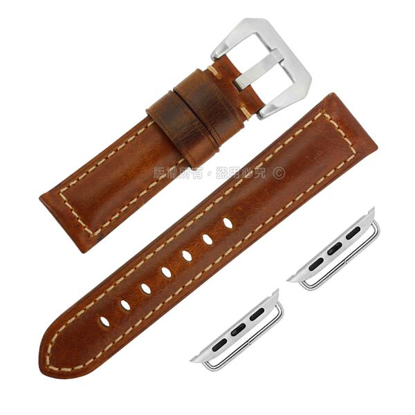 Apple Watch / 蘋果手錶替用錶帶 蘋果錶帶 復刻百搭 真皮錶帶 黃褐色