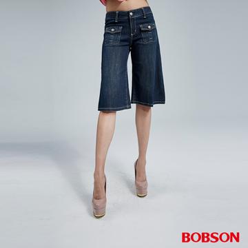 BOBSON 女款寬潮作牛仔短褲(155-53)