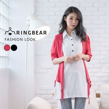 簡約輕盈飄逸不規則下襬袖肩立體造型雪紡外套(黑.紅XL-5L)-J295熊衣褲語