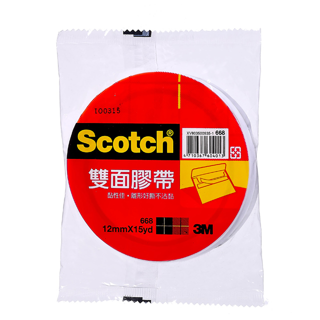 3M 668 雙面棉紙膠帶 12mm x15YD