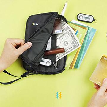 【韓版】時尚清新大容量可手挽證件護照收納包(藍色)