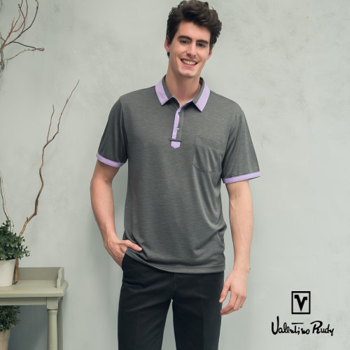 Valentino Rudy 范倫鐵諾.路迪 吸濕透氣涼爽機能Polo衫 耀石灰淺紫領
