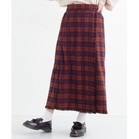 (merlot/メルロー)チェック柄フリンジ巻きスカート/レディース ブラウン