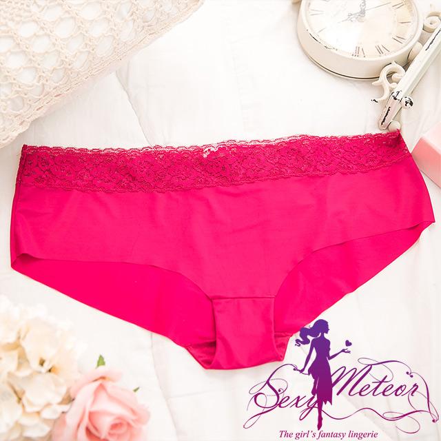 Sexy Meteor A2498-08全尺碼-甜美花朵蕾絲邊素面低腰三角內褲(典雅玫瑰紅)