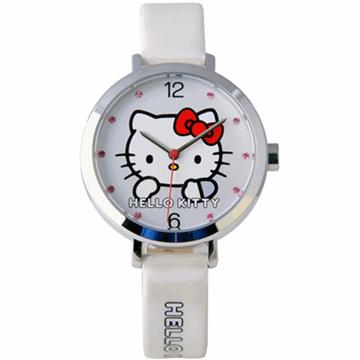 【HELLO KITTY】凱蒂貓羞澀模樣時尚手錶 (白 KT023LWWWS)