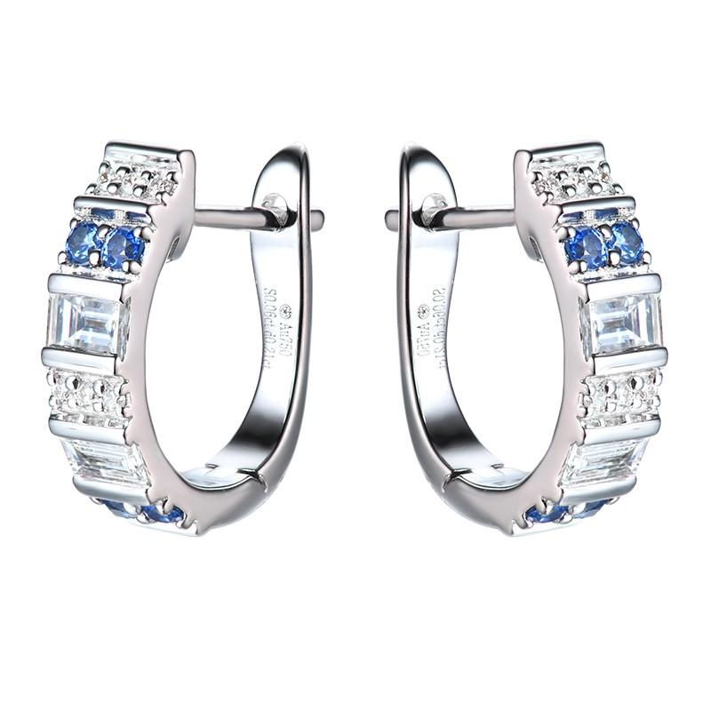 【巧品珠寶】18K 天然藍寶石 伴鑲鑽石 精緻設計款 耳環