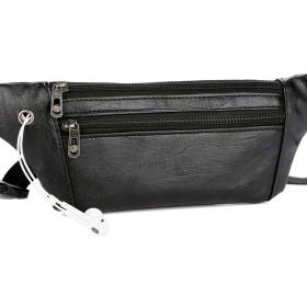 メッセンジャーバッグ メンズ 防水 ウエストポケット ベルト 電話 小銭入れ ベルト ビジネスバッグ,Black