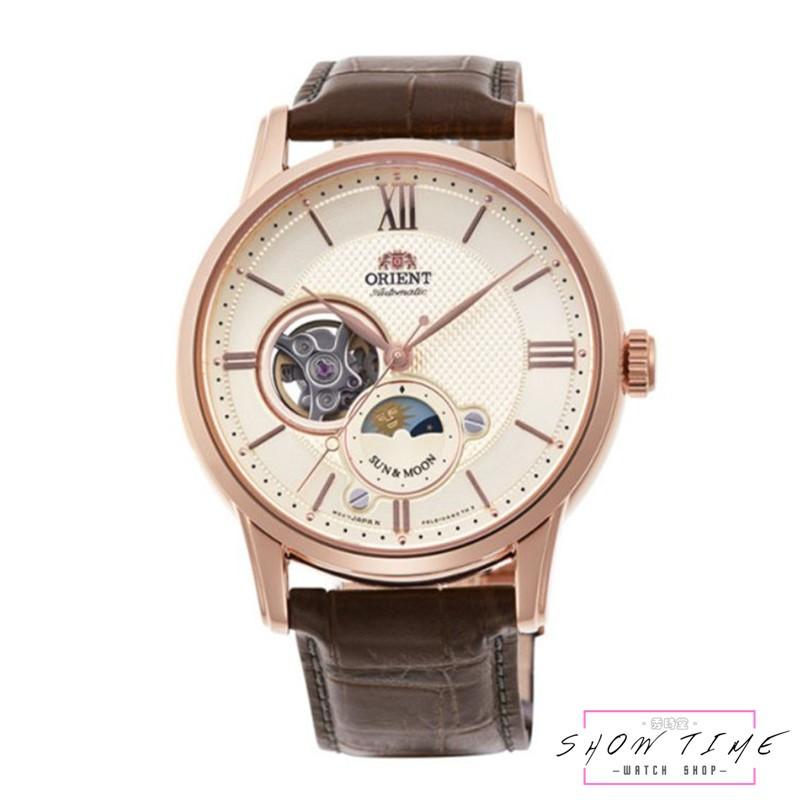 ORIENT 東方錶 經典半鏤日月相機械錶-皮帶/白面玫瑰金 RA-AS0003S [ 秀時堂 ]