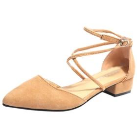 [Bopoli] レディーズ Sandal Pointed Toe Square Heel Buckle ストラップLace-Up ファッション レディース 通気性 カジュアルl Cover Heel ブーツ