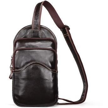 YIKETING スリングバックパックメンズスタイルチェストバッグレザーバッグポータブルショルダーバッグクロスボディバッグビジネスカジュアル多機能旅行収納袋 (色 : Photo Color)