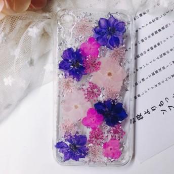 スマホケース 押し花ケース iPhone7/8X/Xs/XR 7/8plus iphone11/pro/promax