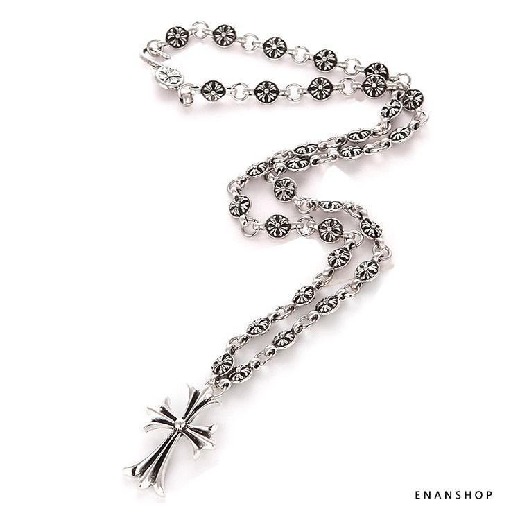 復古十字架項鍊 龐克項鍊 雪梨女神同款 克羅心軍花 項鍊 男女可當對鍊 惡南宅急店【7335A】