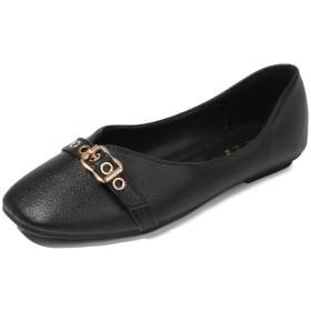 [トブイシューズ] パンプス ローヒール スクエアトゥ 黒 フラット 走れる レディース 靴 婦人靴 歩きやすい ぺたんこ 23.5cm ベルト 美脚 痛くない おしゃれ 歩きやすい 太ヒール 柔らかい 立ち仕事 出張 軽量 軽い 大きいサイズ ブラック 春夏 婦人靴
