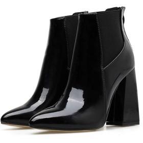 [新ファッション] ブーティー アンクルブーツ ショートブーツ ハイヒールブーツ ブーツレディース 11.5cmヒール 歩きやすい 痛くない 太ヒール 保温 美脚 通勤 仕事用 ブラックchf-435 (24.5cm)