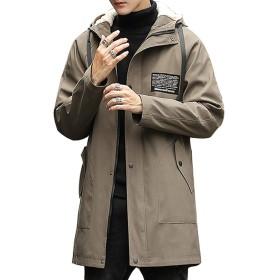ジャケット メンズ コート メンズ ロング トレンチコート アウター コート フード付き カジュアル ビジネス コート おしゃれ 裏起毛 厚手 大きいサイズ 春秋冬 khaki-XL