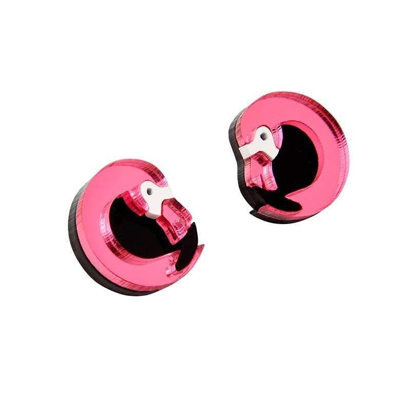 鏡面反光材質火鶴耳環