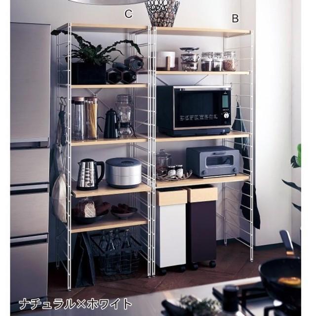 レンジ台 スチールラック ラック 棚 収納 大型レンジ対応 キッチン 可動棚 家電 スライド棚 フック付き ゴミ箱 オープンラック ナチュラル×ホワイト F