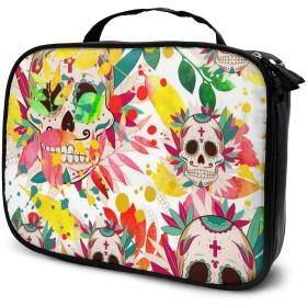 収納袋クレイジースカル化粧品袋耐摩耗性軽量ポータブル高品質大容量旅行ポーチバスルームポーチ旅行小物整理約8×25×19cm