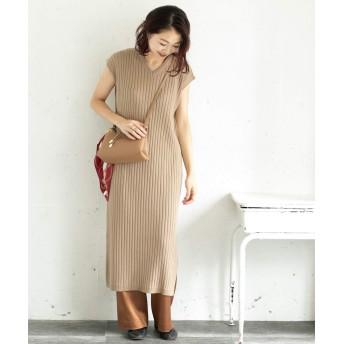 [アーバンリサーチ ロッソ] ワンピース ドレス ワイドリブニットワンピース レディース BEIGE FREE