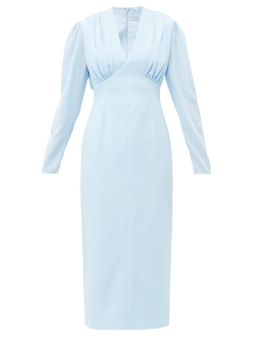 Emilia Wickstead - Iliana Gathered Crepe Midi Dress - Womens - Light Blue