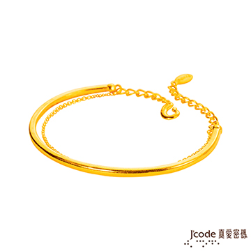 J'code真愛密碼  情緣黃金手環 硬金亮面加鍊