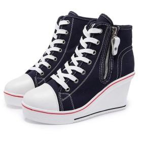 [Bopoli] レディーズ Canvas ブーツ Female High ウエッジソール Side Zipper Height Increased Lace up カジュアルl High Top カジュアルl ブーツ