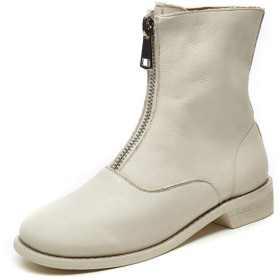 [NJI] ブーツ 22.5cm ショートブーツ レディース 靴 バックル 歩きやすい ヒール ローヒール 太ヒール 防寒 黒 大きいサイズ 24.0cm チャンキーヒール レディース ブーツ レザー シンプル ブーツ 靴 ホワイト ブーツレディース 痛くない