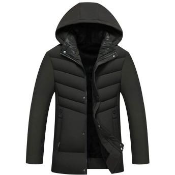 冬服 メンズ コート 中綿ジャケット ウインドブレーカー ダウンジャケット 防寒 防風 裏起毛 厚手 アウトドア ジャケット 绿 XL