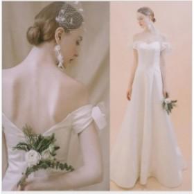 ホワイト 結婚式ドレス ウェディングドレス 花嫁 イブニングドレス ロングドレス 二次会 ブライダル 高級感 披露宴 Aライン 披露宴 二次