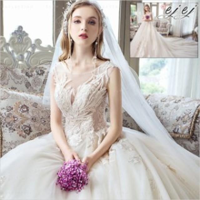 花嫁ドレス ウェディングドレス 結婚式 ノースリーブ ワンピース パーティードレス ウエディング 華やかド