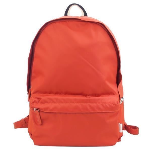 agnes b.條紋織布鐵環尼龍後背包  橘