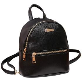 女性ミニバックパックPuレザーカレッジショルダーサッチェルスクールリュックサックレディース女の子カジュアル旅行バッグ-黒-ワンサイズ