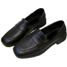 [JGFI] ローファー パンプス レディース 革靴 学生靴 ビジネス 太ヒール ドレス 就職活動 入学式 卒業式 面接 春夏 ブラック 低反発 24.0cm おじ靴 スクエアトゥ 通勤 通学靴 カジュアル 軽い 学生 フォーマル マニッシュ 大きいサイズ 歩きやすい