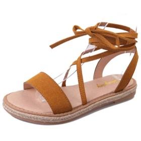 [Bopoli] サンダル for レディーズ Flat ブーツ 滑り止め ファッション レディーズ カジュアルl Occasions Comfortable Female Slingback Lace up Flats Footwear