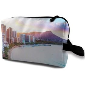 ハワイ 夕陽のワイキキビーチ 化粧ポーチ 化粧ポーチ 化粧品ポーチ メイクポーチ 多機能 大容量 普段使い