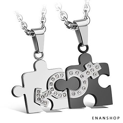 【買1送6】拼圖愛情 鈦鋼項鍊 一對出售 情侶對鍊 情侶項鍊 不鏽鋼白鋼 項鍊 惡南宅急店【7507A】
