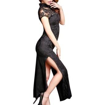 婦人向け 長いチャイナドレス セクシーバラ レース サイド分割 ビンテージ 中国の 肌着ボディコン ドレス 旗袍 中華着物 (S, 伝統襟 黒)