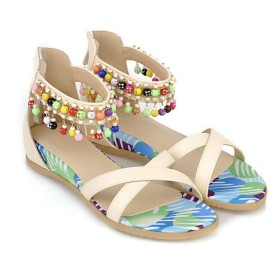 [Bopoli] レディーズ サンダル プラットフォーム Sandal Open Toe Zipper String Bead Peep Toe セクシー ファッション Spring 夏 カジュアルl Cover Heel ブーツ