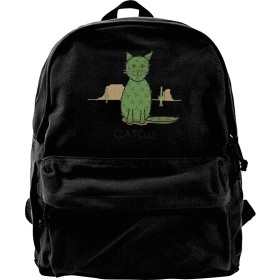リュック リュックサック 砂漠のサボテン 猫柄 ネコ 軽量 スクールリュック 通勤 カジュアル アウトドア 遠足 出張PC対応 A4収納 双肩バッグ 旅行 キャンバス バックパック 通学 ビジネスリュック 大容量 男女兼用