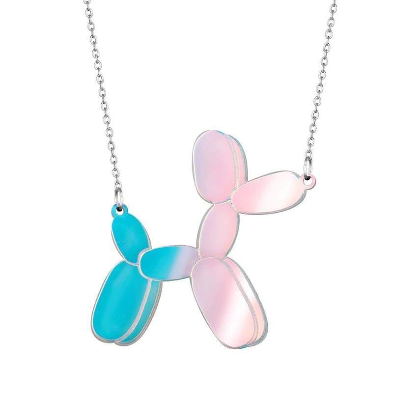 鏡面反光材質氣球狗項鏈 深藍