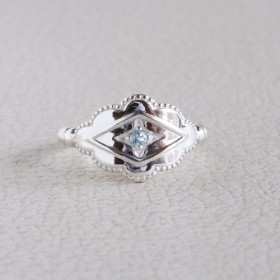 silver925 アクアマリン Lozenge Ring