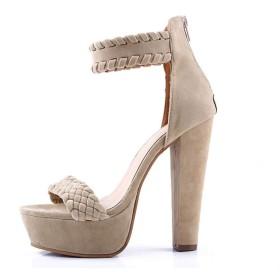 [Bopoli] プラットフォーム Sandal for レディーズ Open Toe Square Heel Buckle ストラップFlock Gladiator 夏 カジュアルl レディース Super ハイヒール パーティーウエディングブーツ