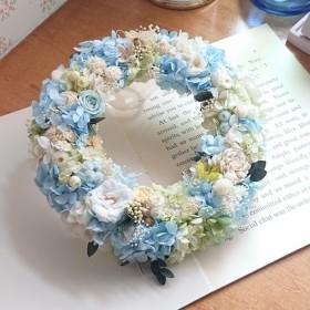―ボタニカルcake―薔薇と木の実のプリザリース パウダーブルー×グリーン