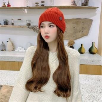 キャップ かつら 帽子 ウィッグ ロングカール レディース 巻き髪wig 付き 自然な質感 医療用 小顔効果 耐熱 ふんわり