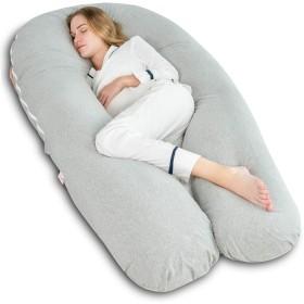 Ang Qi トータルボディ/マタニティ妊婦用枕 U字型 ダブルジッパーコットン枕カバー 65in グレー 43305-3774